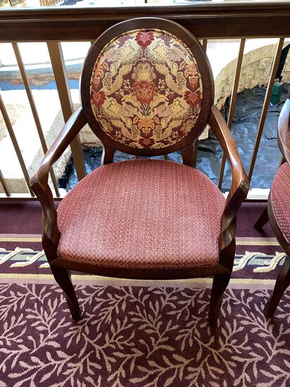 Wood Framed embroidered Chairs