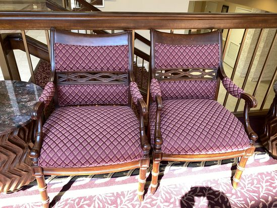Decorative Wood and Fabric Side Chairs