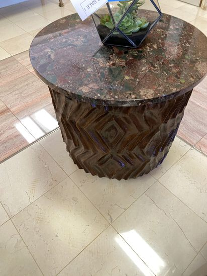 "28"" Round Granite Side Table"