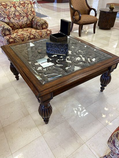 """42"""" x 42"""" Decorative Metal and Wood Coffee Table"""