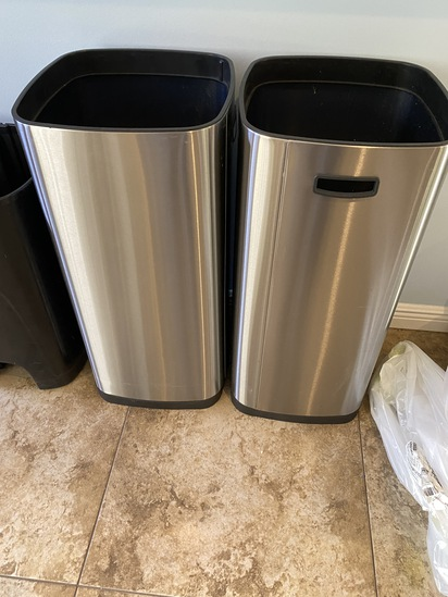 Stainless Steel Garbage Pails with plastic interior Lining