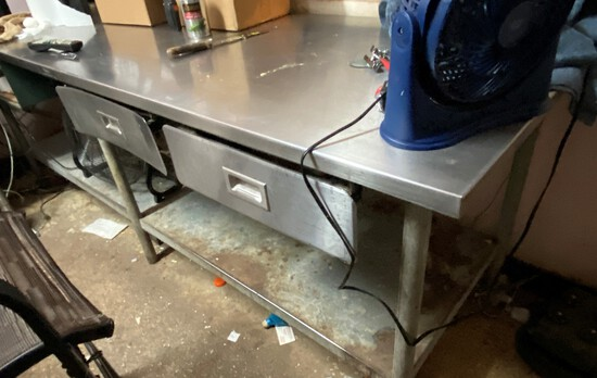 """96"""" x 30"""" Stainless Steel Work Table with Galvanzed Legs and Undershelf and Two Storage Draws"""