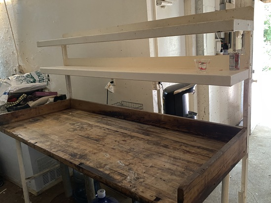 6ft Maple Top Bakers Table with Double Overshelf Back and Side Splash