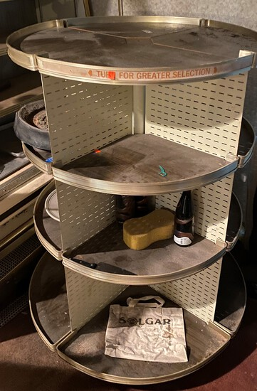 """36"""" Round four Shelf/ four section Rolling Retail Display"""
