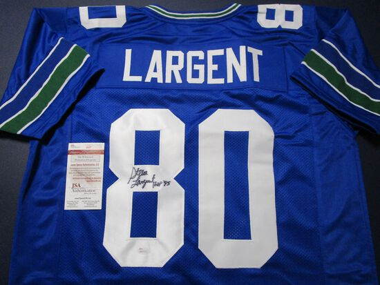 Steve Largent of the Seattle Seahawks signed autographed football jersey JSA COA 711