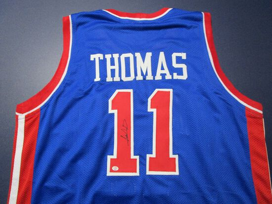Isiah Thomas of the Detroit Pistons signed autographed basketball jersey PAAS COA 526