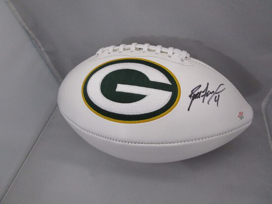 Brett Favre of the Green Bay Packers signed autographed logo football PAAS COA 725