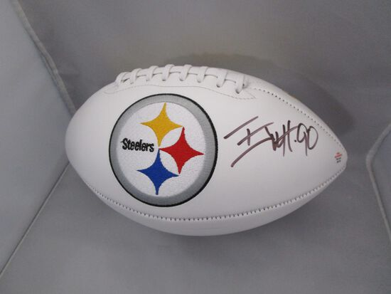 TJ Watt of the Pittsburgh Steelers signed autographed logo football PAAS COA 176