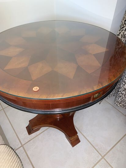 (2) Matching End Tables, Glass Tops, Exquisite Marquetry