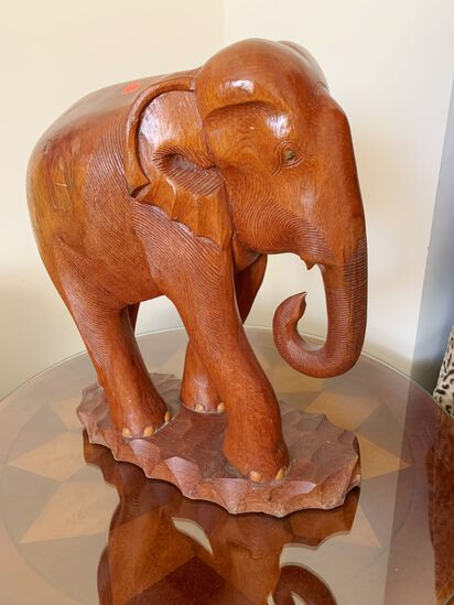 """Large Wooden Elephant, 19"""" Tall X 17"""" Wide"""