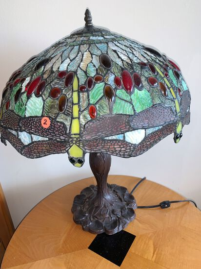 Tiffany Style Lamp with Brass Base