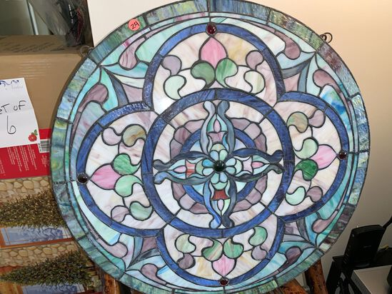 """Round Stained Glass, 24"""" Round, with Hanging Hardware"""