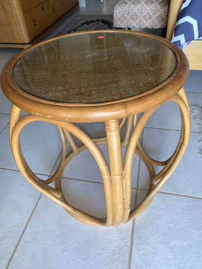 Bombay Stlye Glass Top Side Table