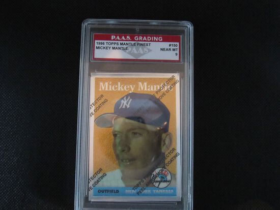 Mickey Mantle New York Yankees 1996 Topps Mantle Finest #150 PAAS graded Near Mint 9
