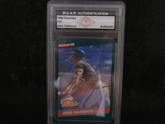 Jose Canseco Oakland A's signed autographed 1986 Donruss The Rookies #22 PAAS Authentic slabbed