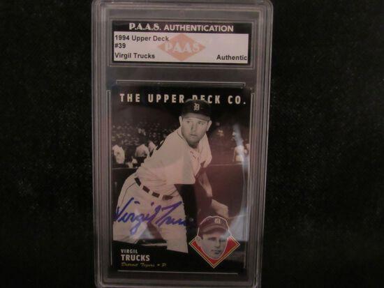 Virgil Trucks Detroit Tigers signed autographed 1994 Upper Deck #39 PAAS Authentic slabbed