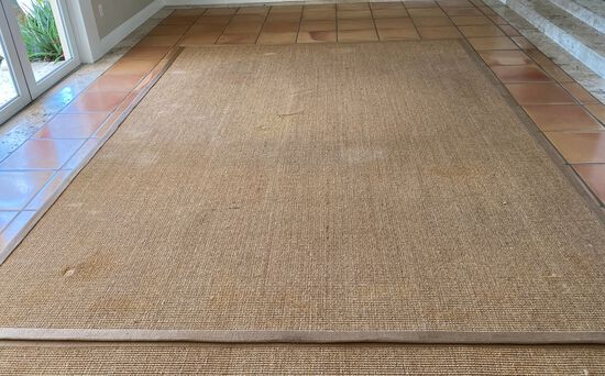 """8' x 12' Floor Rug with a Rubber non Skid Back and a sewn in 3"""" Trim"""