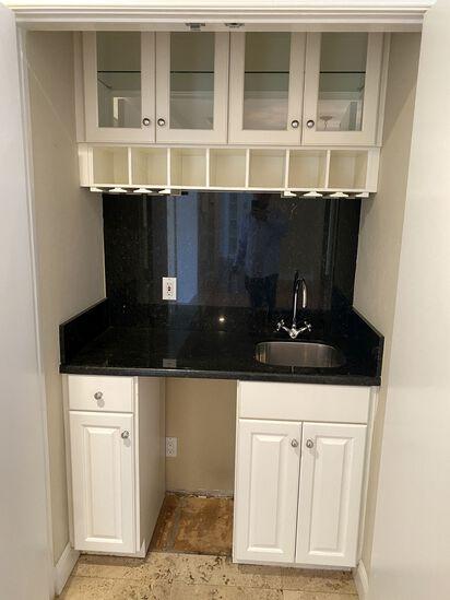 "48"" Wet Bar w/ Upper Glass Cabinets, Wine Bottle Storage and Wine Glass Rack, Black Granite Back Spl"