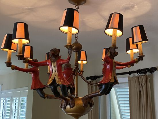 Ornate Wood Style Monkey Lamp with (10) Candles and Shades