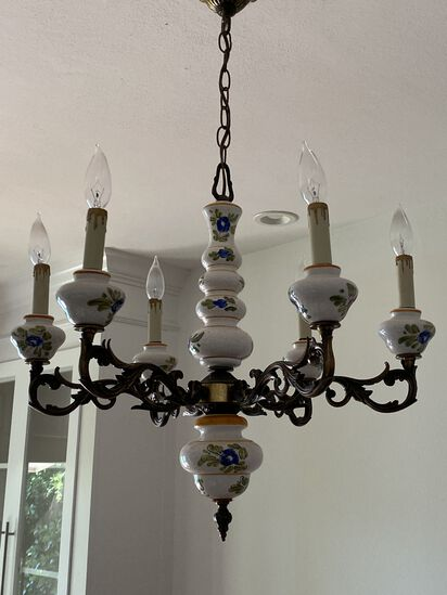 Antique Hand Painted Porcelian (6) Candle Chandelier with Ornate Bronze metal Work