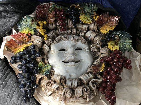 """24""""  Italian Hand Painted Majolica Ceramic Mask of Bacchus, Bacchus was the god of agriculture & win"""