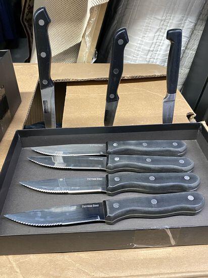 Lot of (7) Knives, (4) three Rivet Steak Knives, (2) Kuchen Messier Pairing Knives and (1) Small Hen