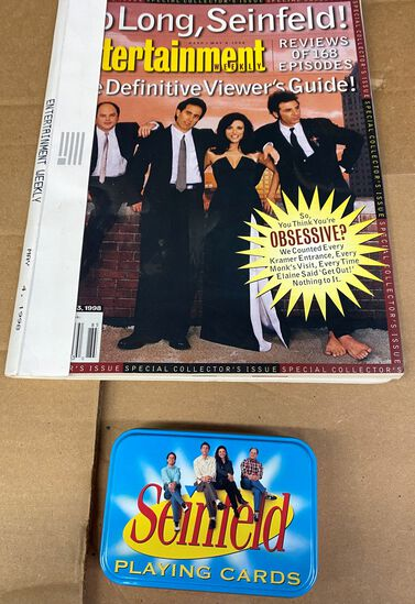 """Lot of (2) Unique """"Seinfeld"""" Collectables. (1) Card Set and (1) Entertainment Magazine reviewing 168"""