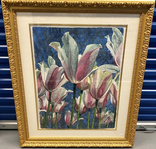 """42"""" x 35"""" Framed Watercolor on Paper titles """"White and Pink Tulips"""" signed by Artist Elyse. This Wat"""