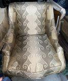 Large custom made Ornate Silk Upholsered Elegant Chair with Wood Framing