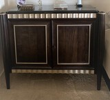 Very Nice Modern Styles Night Stands with Round Legs, Silver Scalloped Finishand two pull out Doors