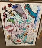 Italian Abstrat Artist Bonara Original Oil on Canvas