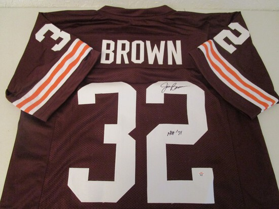 Jim Brown of the Cleveland Browns signed autographed football jersey PAAS COA 345