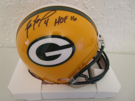 Brett Favre of the Green Bay Packers signed autographed mini helmet PAAS COA 107