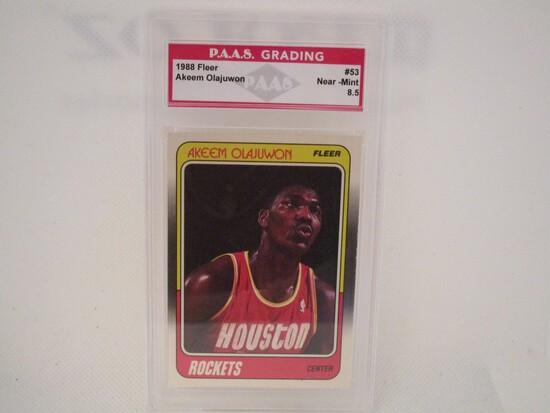 Akeem Olajuwon Houston Rockets 1988 Fleer #53 PAAS graded Near Mint 8.5