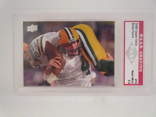 Brett Favre Green Bay Packers 2008 Upper Deck #70 PAAS graded Near Mint 8.5