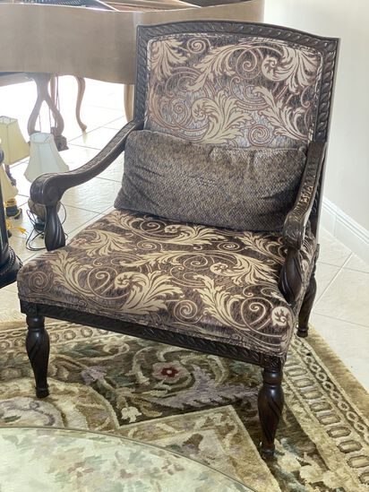 Pair of Wood Framed and Upholstered Occasional Chairs