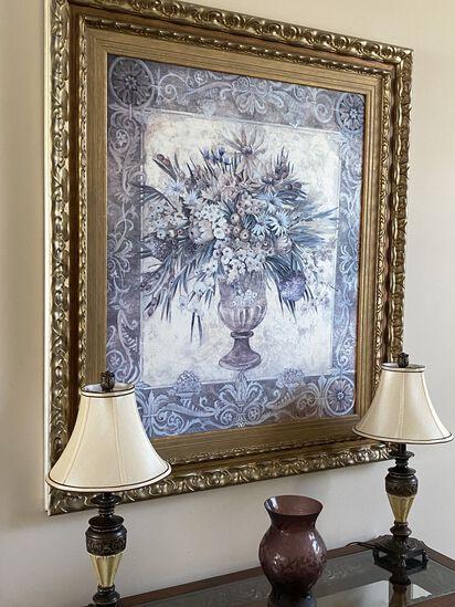 "54""H x 45""W Gold Framed Still Life Floral Wall Art"