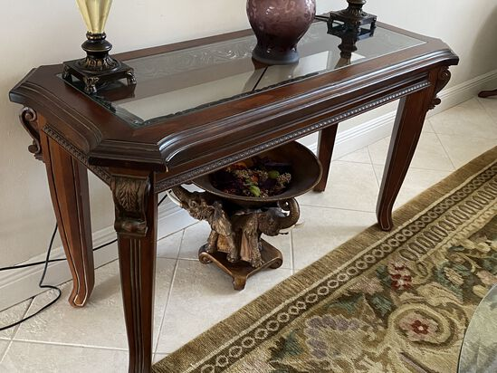 Wood Console Table with Inlaid Glass Center