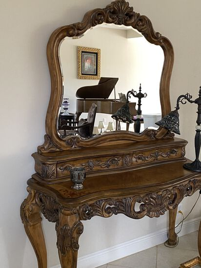 """53"""" Ornate Carved Wood Claw Foot Entry Console/Desk with Mirror and Two Felt Lined Draws"""