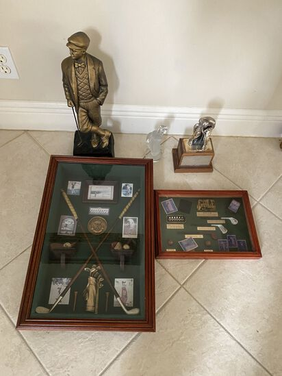 """Four Golf Collectables: 20""""H x 13""""W Golf Themed Shadow Box, 12W x 8"""" Golf Themed Shadow Box, (2) Gol"""