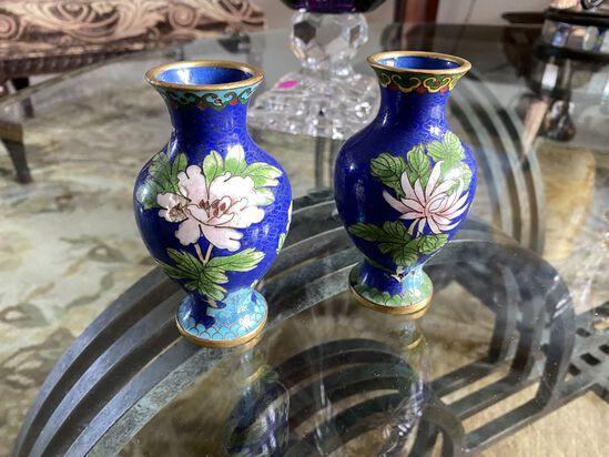 """Pair of 5"""" Cloisonné Vases"""