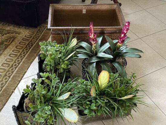 Lot of Colorful Artificial Plants