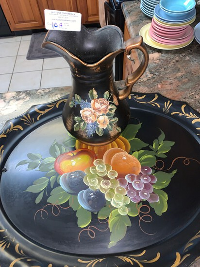 Hand Painted large Serving Tray and Matching Pitcher