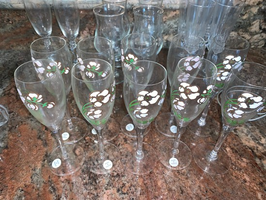 (11) Pierre Jouet Champagne Flutes, French Crystal