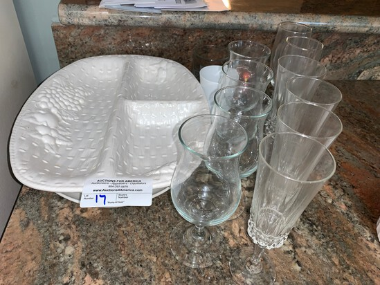 Assorted Lot of Serving atters and Glassware