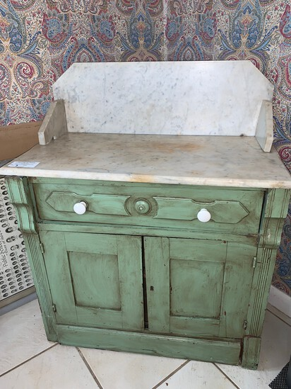 """Antique Marble Top Cabinet, 30"""" W X 26"""" H with 8"""" Marble Backsplash"""