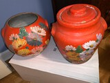 (2) Hand Painted Ceramics, (1) Cookie Jar and (1) Bowl