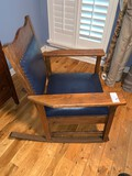 Leather Rocking Chair, Leather Seat, Leather Back with Pop Rivets