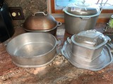 (5) Assorted Heavy Pots, Roasting Pans and Tray