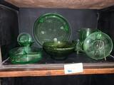Lot, Green Depression Glass